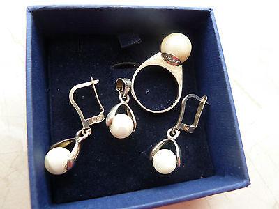 Damen Echt Silber 925 Schmuckset mit echten Perlen