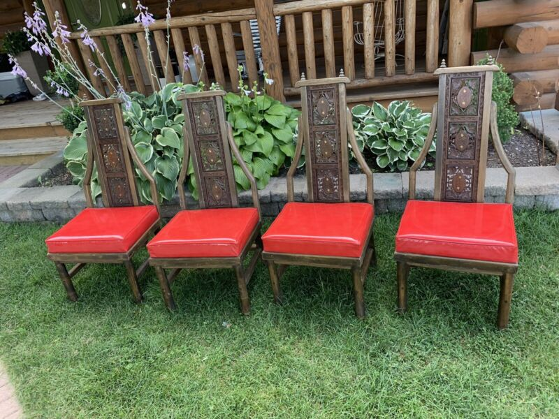 Antique Vintage Victorian Retro 4 Hand Carved Wooden Dining Chairs Vinyl Seat