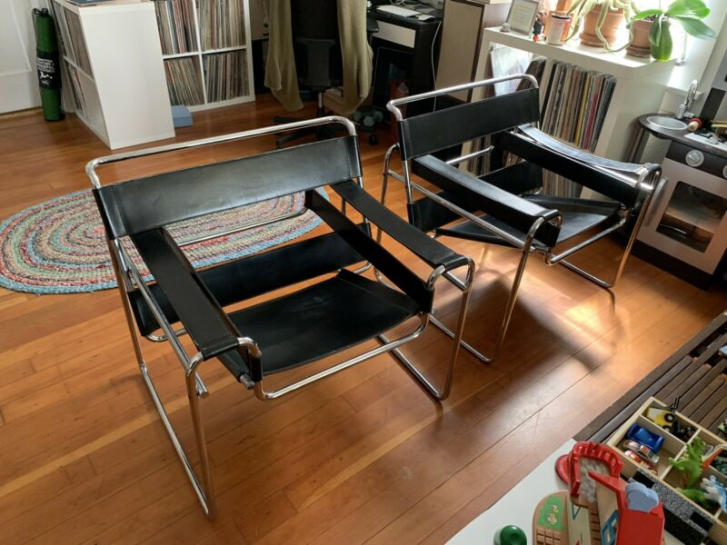 Pair vintage OG Wassily B3 Lounge Chairs marked Stendig Gavina Pre knoll Breuer