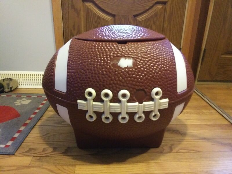 Little Tikes football toy chest blow mold dated 1975 tailgate cooler storage box