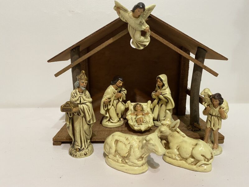 Vintage Nativity Set With Manger Made in Japan Mixed Pieces From Two Sets READ