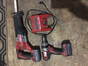 Milwaukee sawzall, hammer drill and impact