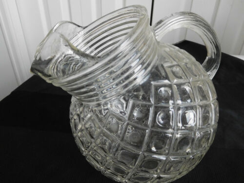 Anchor Hocking TILT Ball WAFFLE ICE LIP WATERFORD PITCHER clear glass