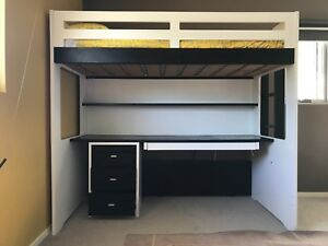 Bunk Bed Snooze Single Loft Bed With Desk Shelf And Drawers