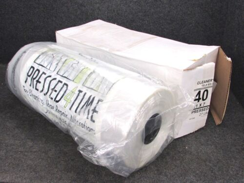 """NEW! DRY CLEANING GARMENT BAGS, PRESSED 4 TIME, CLEAR POLY, 40"""" x 21"""" x 7"""", ROLL"""