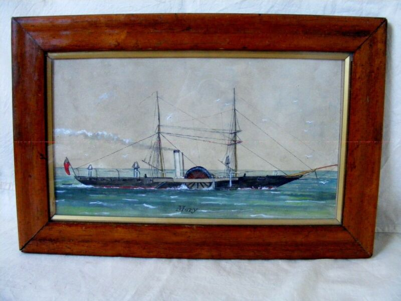 Antique Maritime Ship Portrait, Steamship c1840