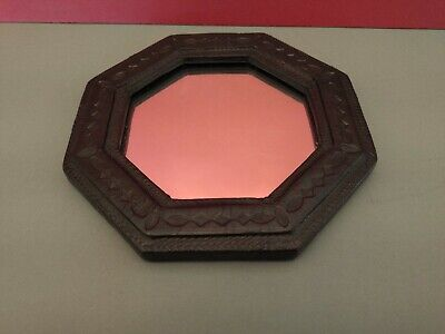 Authentic Hand Crafted African Mirror With Patterned Leather Border