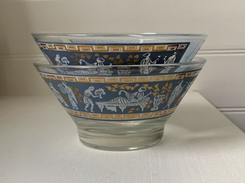 Vintage Pair CERA GLASS Etruscan Frieze Serving Bowls w/ Greek Key Pattern