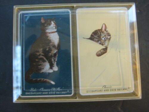 Vintage Chesapeake & Ohio Railway Cat Playing Cards  in Original Plastic Case