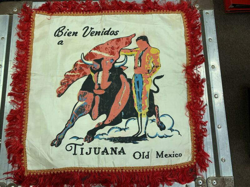 Vintage 1940's Tijuana Old Mexico Satin Fringe Souvenir Pillow Case