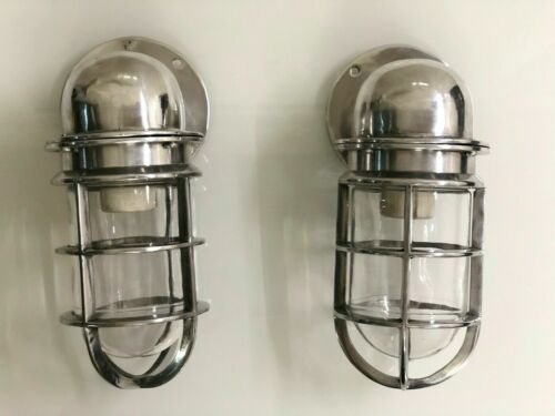 BULKHEAD SOLID WALL LIGHT SCONCE FIXTURE STYLE NAUTICAL ALUMINUM 2 PS
