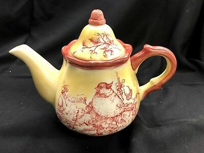 Maxcera Yellow Red Toile Teapot with Birds on Branches! Excellent!