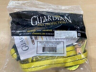 Guardian 01220 Shock Absorbing Lanyard 6 Single Leg W Snap Hooks Brand New