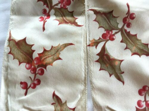 Antique Victorian Silk Christmas Ribbon Holly Berry Wide Width 19th C