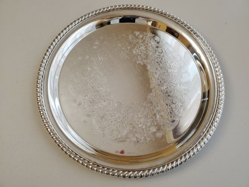 VINTAGE WM ROGERS ROUND SILVERPLATE SERVING TRAY 12 1/2 INCH #171