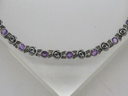 "NWOT OR PAZ PZ ISRAEL Rose Flower Round Purple Amethyst Chain Link Bracelet 8"""