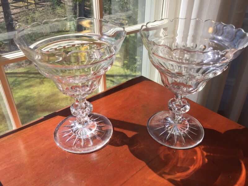 Pair large Antique Anglo-Irish Open Cut Crystal Glass Compotes