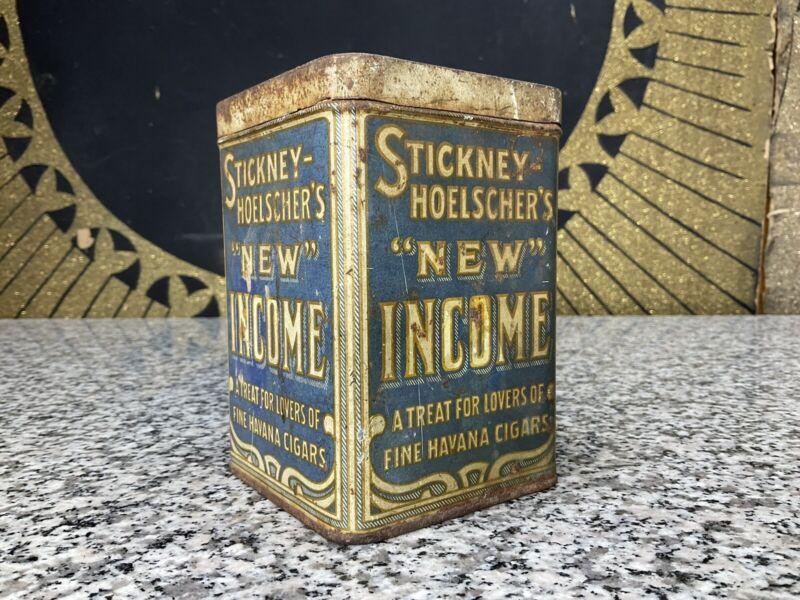 Vintage STICKNEY HOELSCHERS New Income Havana Fine Cigars Tin Box