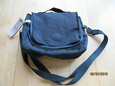 Kipling Kichirou Nylon Insulated Lunch Bag True Blue  No Monkey Keychain NEW