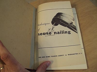 1947 Education Tool Handbook Students Manual  Technique Of House Nailing