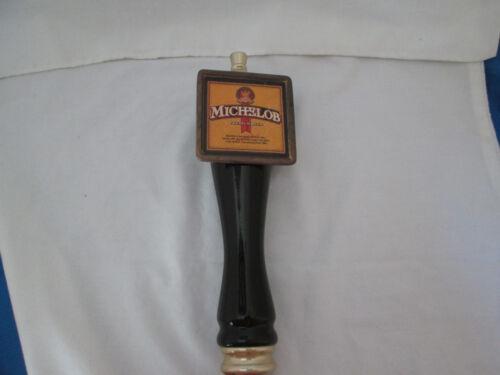 Michelob Premium Beer Black Tap Handle Brass Name Finial & Ferrule Vintage
