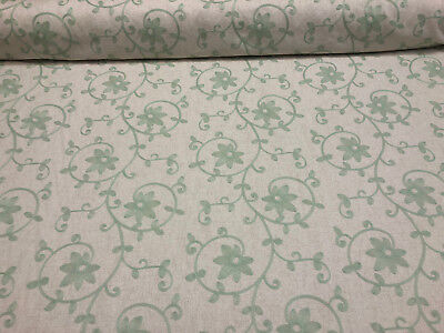 Everett Spa Blue Floral Embroidered Fabric By The -