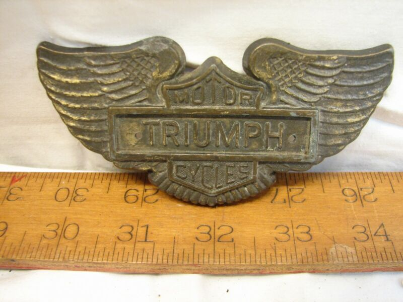 Triumph Moto Cycles Emblem Badge Shield Wings Brass/Bronze Finish Motorcycle