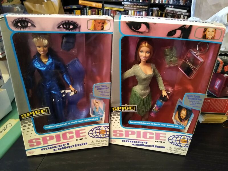 Lot 2 SPICE GIRLS Dolls Emma Baby Spice  Ginger CONCERT COLLECTION NIB GALOOB 98