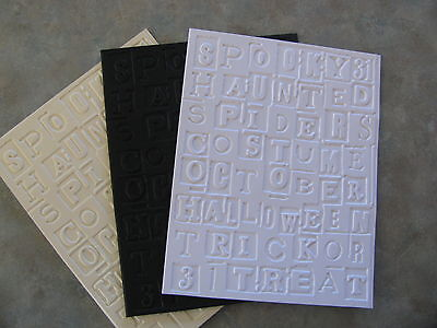 Sizzix Tim Holtz HALLOWEEN Words embossed card panel - Tim Holtz Halloween Cards