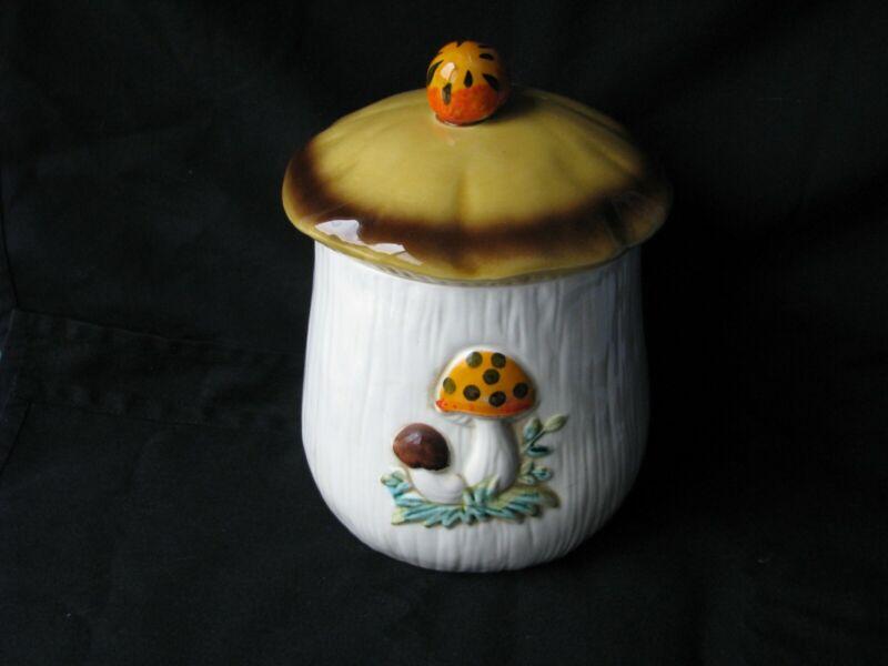 """1976 Sears & Roebuck Merry Mushroom Japan Medium Canister 8"""" tall with lid"""