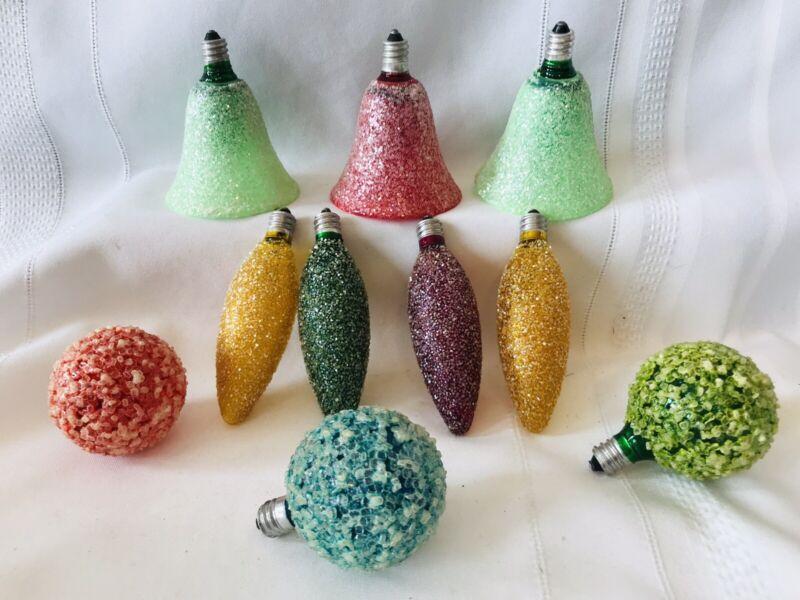 10 Vintage Lighted Ice Christmas Bulbs Snowball Sugar Bells Teardrops Tree Light