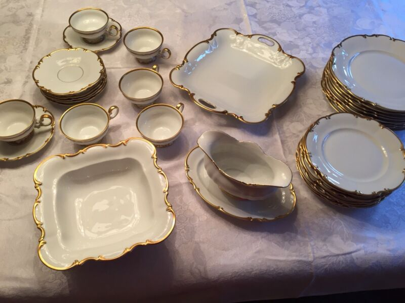 Hutschenreuther China Set Bavarian 34 Piece White With Gold Authentic Set