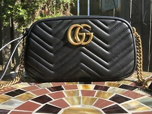 Gucci GG Marmont Small Shoulder Bag Crossbody(Black)