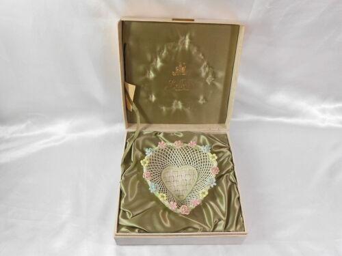 Vintage Rare Belleek Irish China Woven Basket In Presentation Case
