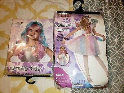 Unicorn Costume Wig (Girls Shimmering Unicorn Costume With Wig Size Medium)
