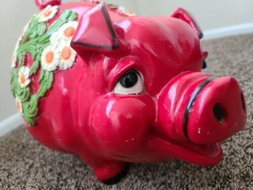 Vintage Universal Statuary Corp 1976 Adorable Huge XL Floral Red Pig Piggy Bank