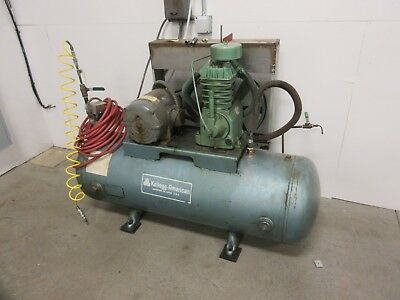 Kellogg American 5hp Air Compressor 120 Gallon Horz. Tank Single Stage 110 Psi