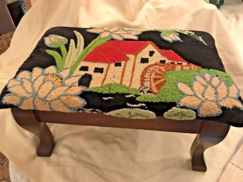 Antique Footstool Needlepoint on Velvet Grist Mill House & Floral Wood Frame