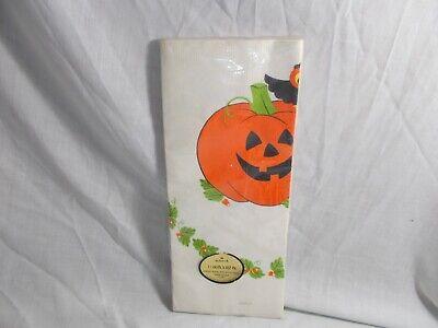"Vintage Hallmark Halloween Crepe Paper Tablecloth 60"" x 102"" Pumpkin"