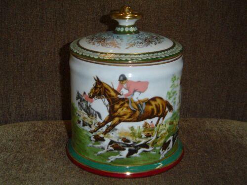 Limoges Fox Hunt Equestrian Porcelain Humidor/Cookie or Biscuit Jar ~ NIB