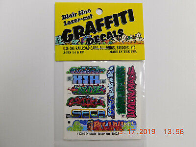 BLAIR LINE LASER CUT GRAFFITI DECALS N SCALE #1260 SET # 11 Laser Cut Decals