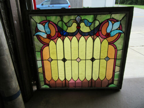 ~ ANTIQUE STAINED GLASS WINDOW COLORFUL ~ 44.75 X 40.5 ~ ARCHITECTURAL SALVAGE