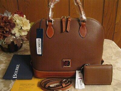 NWT Dooney & Bourke Pebble Leather Amber Zip Zip Satchel/Shoulder Bag + Gift!