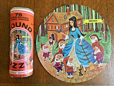 Vintage 1960s H-G Toys Round Jigsaw Puzzle Snow White #431 Complete 75 pieces