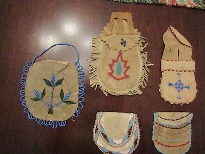 Native American Antique  Old Vintage Beaded Pouches    5 Pc Collectors Lot