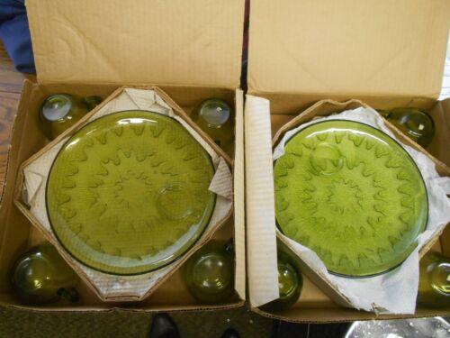 7 vintage Indiana Glass Sunburst olive green patio snack sets 7 cups 8 plates