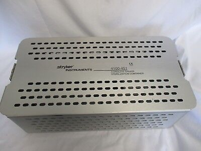Stryker Instruments Cordless Driver Sterilization Container 4100-451 Case Used