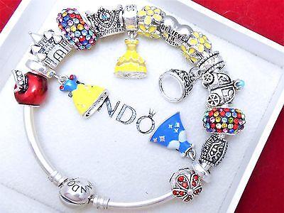Authentic Pandora Silver Bangle Bracelet With Princess Disney European Charms.