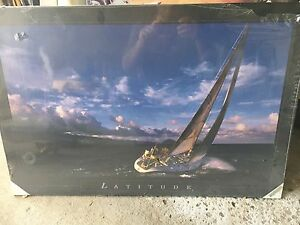 Latitude beautiful Sailing art print on dry mount board