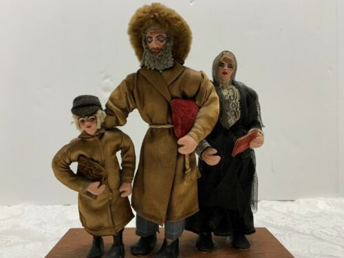 "Russian Carolers Family Vintage Dolls Figures 9"" on Platform Handmade Clothing"